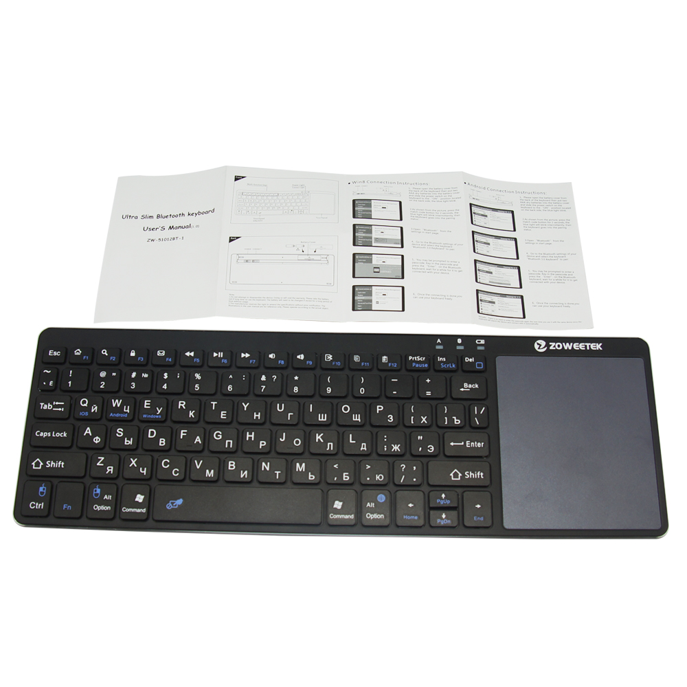 Zoweetek K12BT-1 Mini wireless Bluetooth Russian English Hebrew Spanish Keyboard With Touchpad For PC Ipad Laptop Tablet
