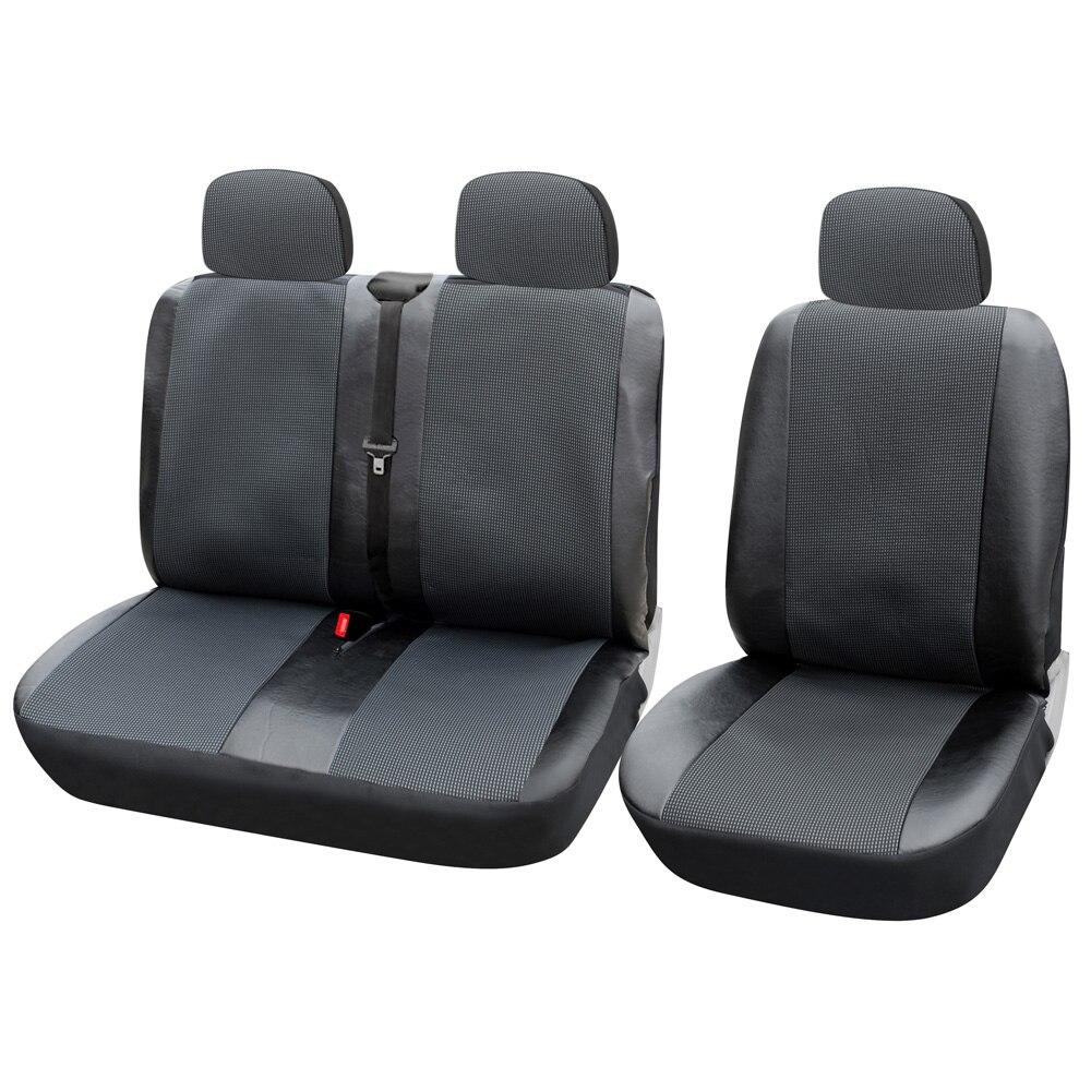 AUTOYOUTH 1 + 2 housses de siège housse de siège de voiture pour Transporter/Van, ajustement universel avec cuir artificiel, accessoires intérieurs de camion