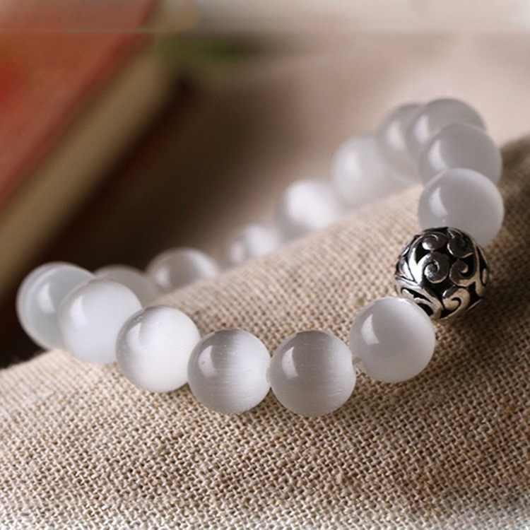 Natura kamień Opal liny Handmade szczęście tybetański srebrny koraliki bransoletki męskie bransoletki z koralików biżuteria na prezenty świąteczne
