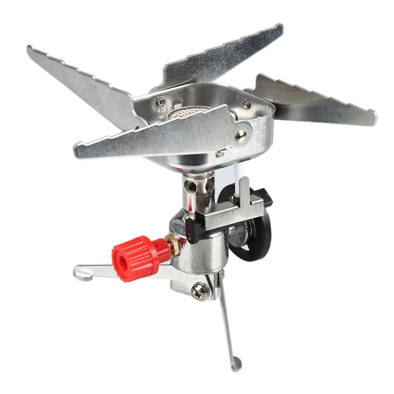 Hot Outdoor One Long Gas Tank Interface Burner Windproof Cooking Utensils Card Compact Portable Gas Stove Stainless Steel Zinc