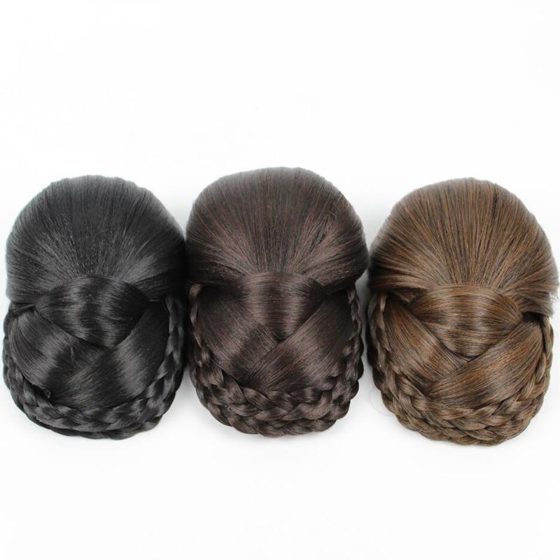 JOY&BEAUTY Hair Three Colors Available Braided Clip In Hair Bun,Chignon Hairpiece Donut Roller Bun Hairpiece Long 14cm