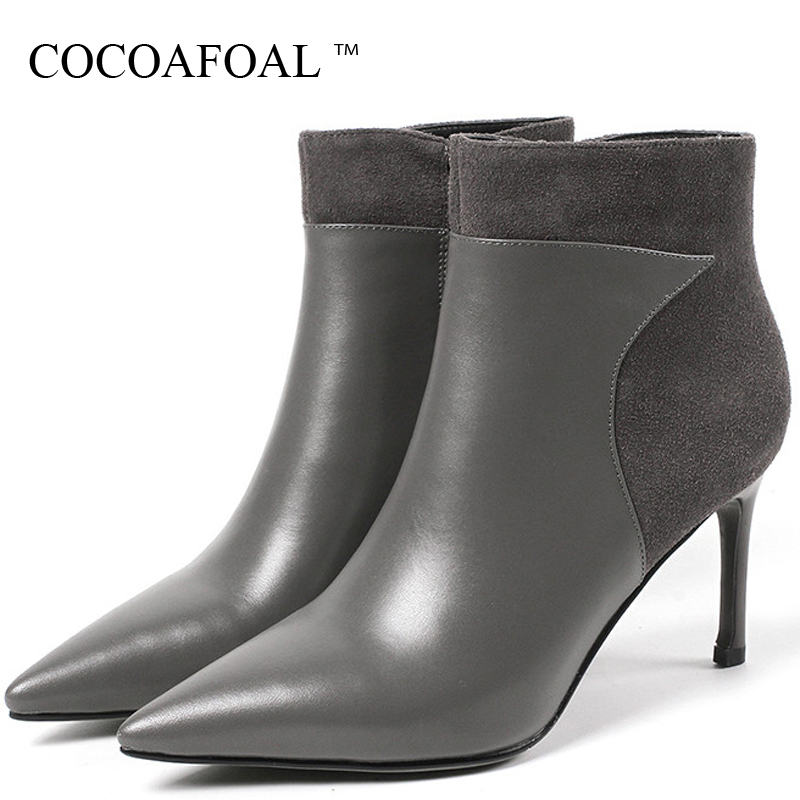 COCOAFOAL Women's Chelsea Boots Genuine Leather High Heels Shoes Woman Ankle Boots Autumn Winter Genuine Leather Chelsea Boots jellyfond designer autumn winter shoes woman 2018 handmade genuine leather big bow platform high heels ankle boots chelsea boots