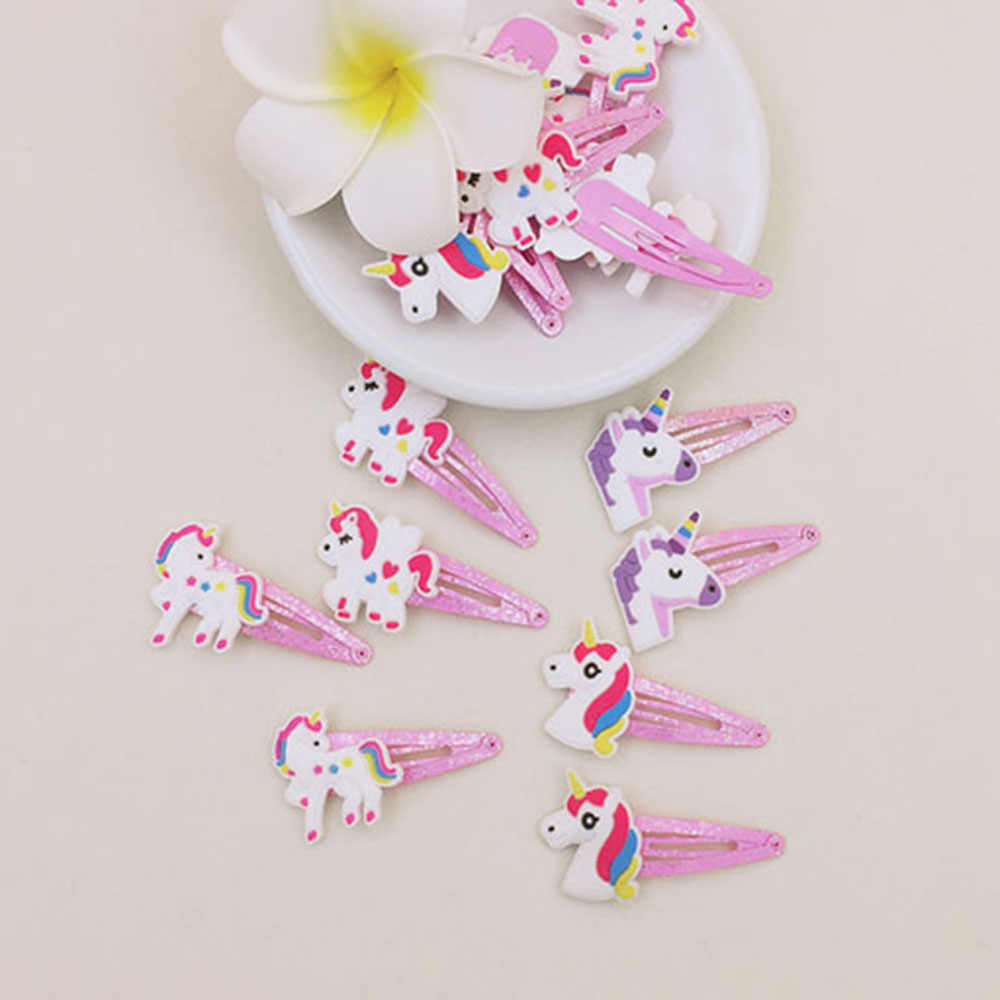 1 Pair Cartoon Unicorn Hair Clips Hairpins Pink Color Handmade Children Hairpin Girl Animal Hair Clip Accessories Dropshipping