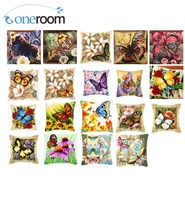 Butterfly DIY Acrylic Yarn Embroidery Pillow Tapestry Canvas Cushion Front Cross Stitch Pillowcase