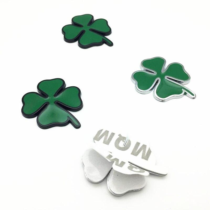 2 pièces/ensemble quatre feuilles trèfle 3D métal Chrom Badge emblème autocollant amour sain symbole chanceux pour Alfa Romeo voiture accessoires de style