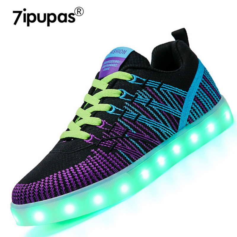 7ipupas New Sole Luminous Women Shoes Casual Femme Winter Zapato Embroidery Led sneakers Air Trainers Women Flats Zapatos Mujer glowing sneakers usb charging shoes lights up colorful led kids luminous sneakers glowing sneakers black led shoes for boys