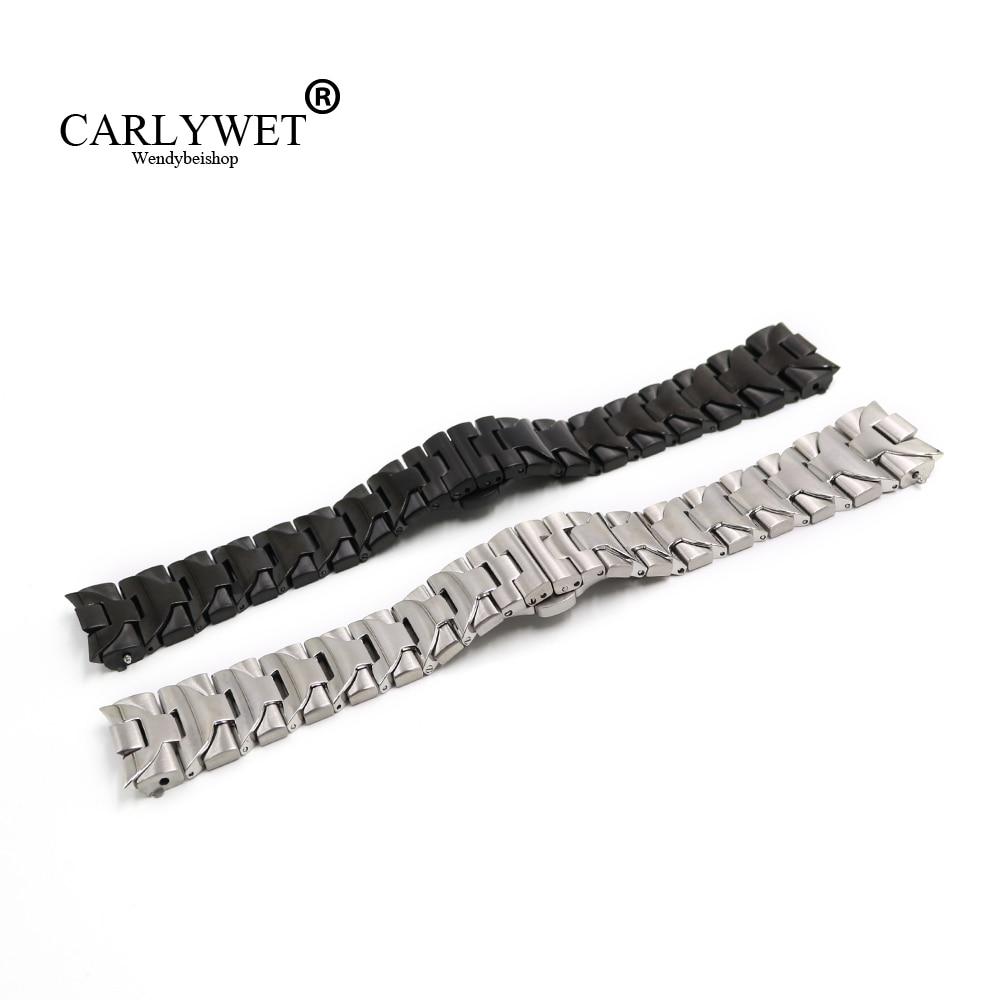 CARLYWET 24 мм черный Серебряный твердым загнутым концом винта одной из нержавеющей стали развертывания застежка часы ремешок Браслет для Panerai модель luminor