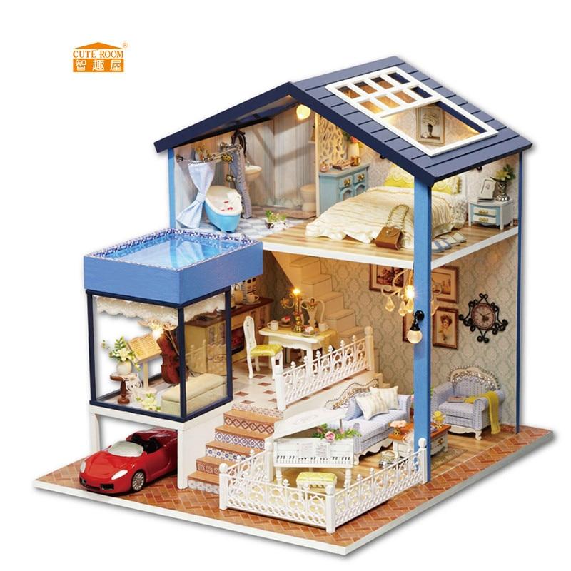 CARINO CAMERA Nuovo arrivo In Miniatura Casa di Bambola di Legno Con Mobili FAI DA TE Agitarsi Giocattoli Per I Bambini I Bambini Regalo Di Compleanno Seattle A061