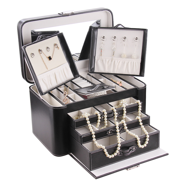 Rowling Large Jewelry Box Black Watch Casket Pu Leather Earrings Case Jewellery Hook Necklace Storage Cabinet