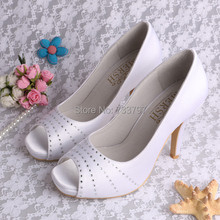 Wedopusสีขาวผู้หญิงรองเท้าแพลตฟอร์มรองเท้าส้นสูงคู่แต่งงานแต่งงานส้นเท้าเปิดที่กำหนดเองที่ทำด้วยมือ