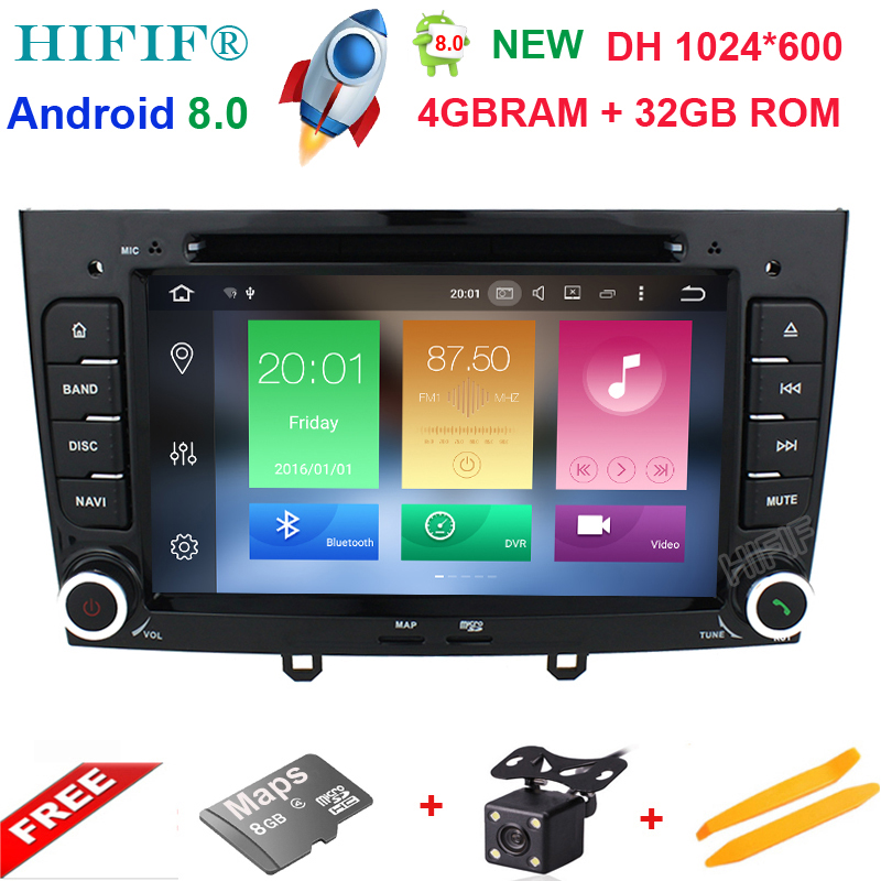IPS <font><b>Android</b></font> <font><b>8.0</b></font> Special Car DVD Stereo Navigation for <font><b>Peugeot</b></font> 408 & <font><b>308</b></font> Gray with GPS RDS IPOD 3G/4G SWC Rearview Free 8GB Map image