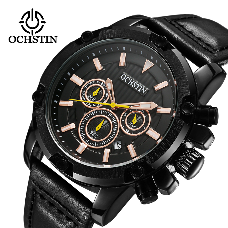 OCHSTIN Brand New Fashion Casual Man Man Chronograph Clock Militär Army Sport Läder Rem Luxury Wrist Quartz Watch