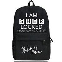 Fashion I Am Sherlocked Cosplay Bag Schoolbags Women Men Student School Backpack Shoulder Black Bags Gift Free Shipping