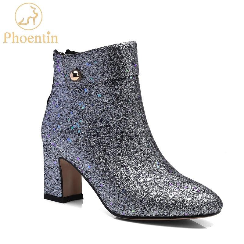 Zipper bottines femme bout rond solide argent chaussures pour femmes 2018 paillettes tissu chaussures pour femmes mode botte PHOENTIN PH057