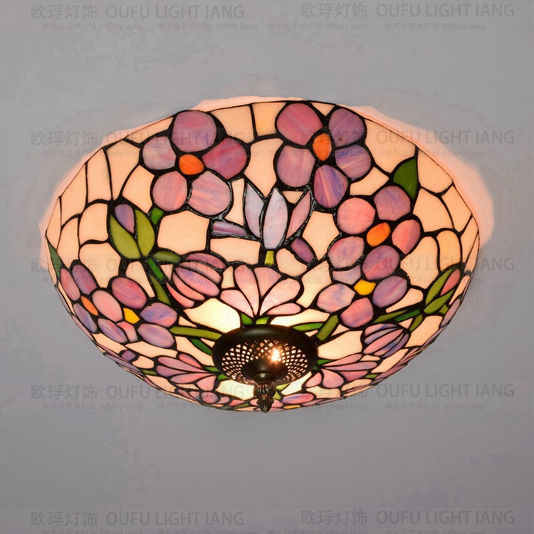 37cm Flesh Country Flowers Tiffany ceiling light Stained Glass Lamp for Bedroom E27 110-240V лампа feron green de1708