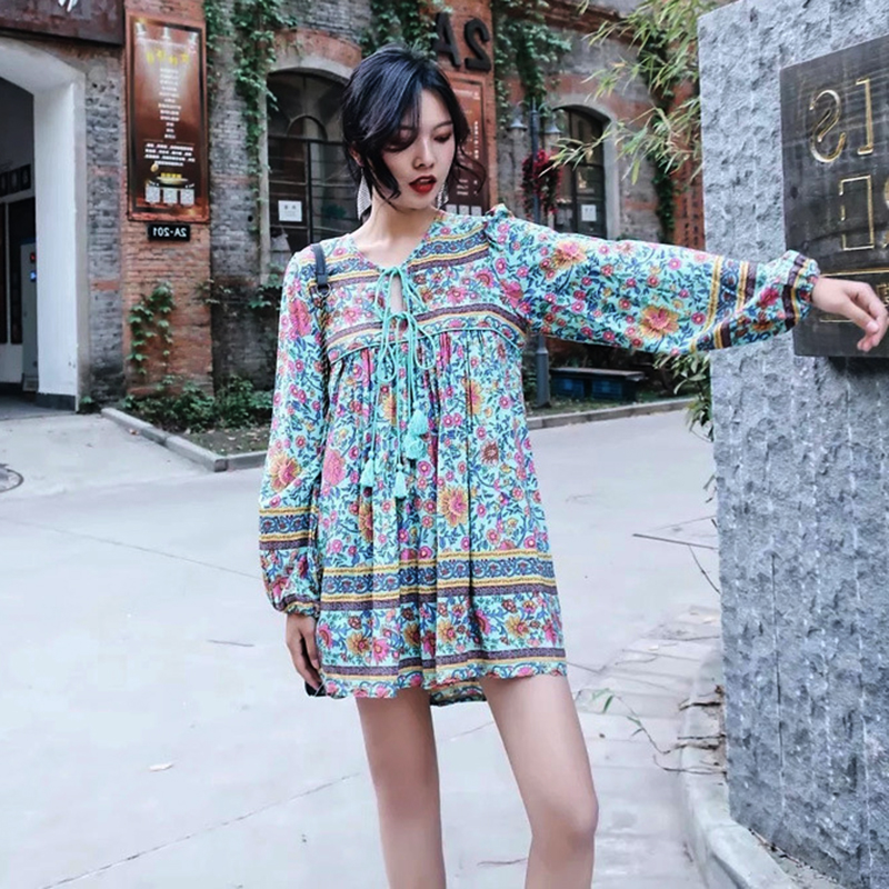 fc32e96e1e96c Khale Yose Summer Mini Dress Long Sleeve Floral Tassel Bohemian Women  Dresses Flower Hippie Boho Chic Gypsy Beach Dress 2018