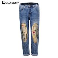 GLO STORY Women's Soft Cotton Straight Jeans Woman Floral Embroiedered Patchwork Boyfriend Denim Pants WNK 5871