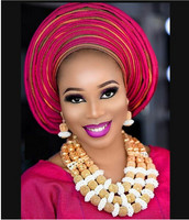 Free Shipping 2017 Nigerian Women Costume Wedding Statement Necklace Set Fantastic Gold Bridal Beads African Jewelry Set ABH499