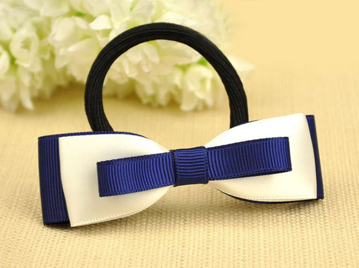 Fashion Navy Blue Bowknot Headpiece Bijouterie Casual Ribbon Hairbands Hair Accessories For Women Scrunchy Head Jewelry Gift in Hair Jewelry from Jewelry Accessories