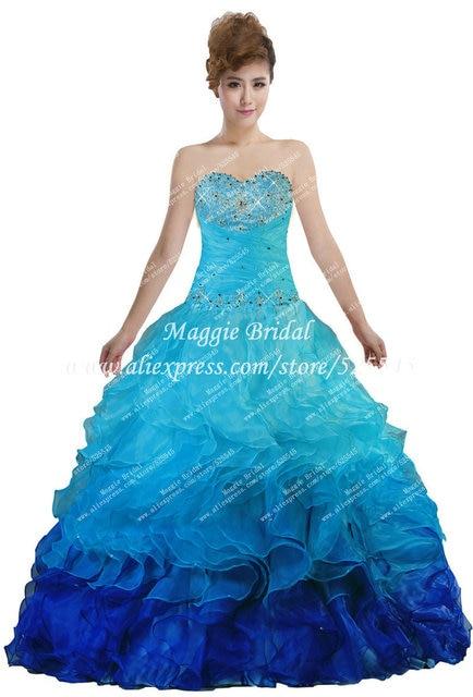 8a5d2f4f5b Crystal Corset Peacock Corset Ombre Rainbow Blue Quinceanera Dresses