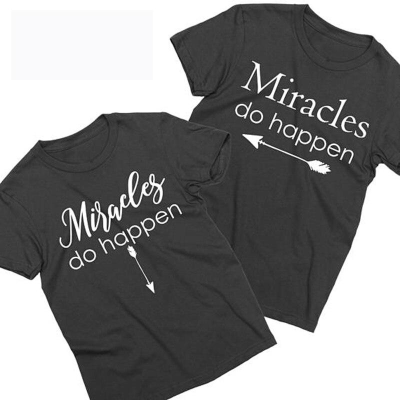 be542537a2c9c EnjoytheSpirit Miracles Do Happen Pregnancy Announcement Maternity Shirts  Pregnancy Announcement Couples Unisex T shirts-in T-Shirts from Women's  Clothing ...
