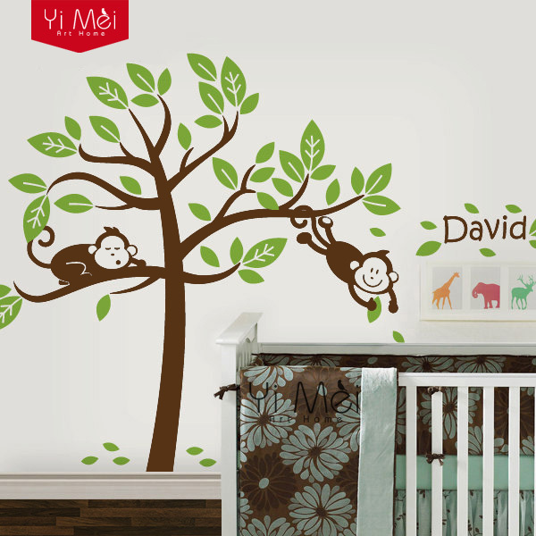 Personalized Custom Name MonkeyTree Wall Stickers Decal for Kids Nursery Room Children Wallpaper for Home Decoration
