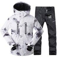 GSOU снег Для мужчин Новый лыжный костюм зимние белые уплотненные ветрозащитные теплые лыжной одежды открытый Водонепроницаемый дышащий лыж
