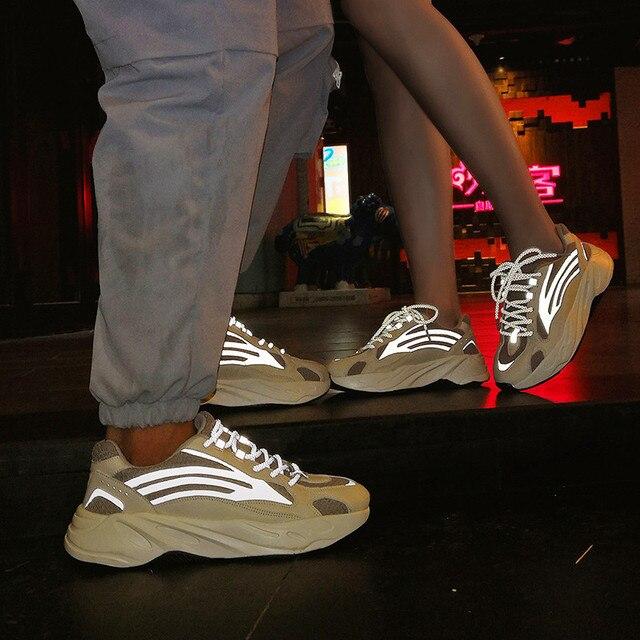 Luminous men and women sports shoes unisex tide shoes men's casual breathable men's shoes walking shoes large size 35-47