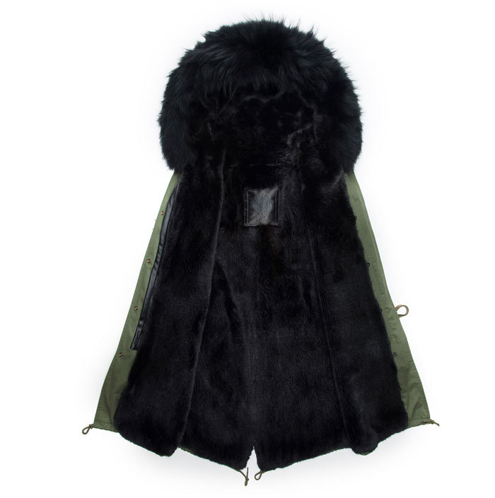 New style winter real fox fur male coat men wear long style beading black lined hooded jacket