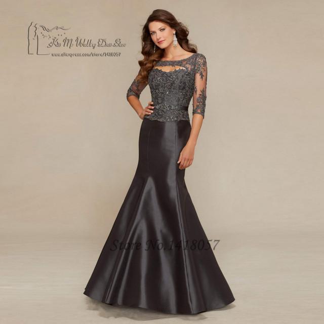Cinza Lace Plus Size mãe da noiva vestidos de meia manga mulheres Pant ternos vestidos sereia Formal Vestido de Madrinha