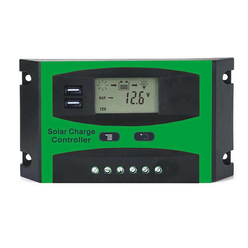 ЖК-дисплей 10A 20A 30A 12 V/24 V Модуль генератора солнечной системы Панель зарядное устройство батарея регулятора контроллер с двумя USB 5 V зарядкой