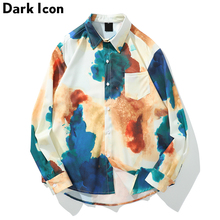 цена на Dark Icon Front Pocket Curved Hem Loose Shirts Men 2019 Turn-down Collar Long Sleeved Shirts for Men Oversized Men's Shirt