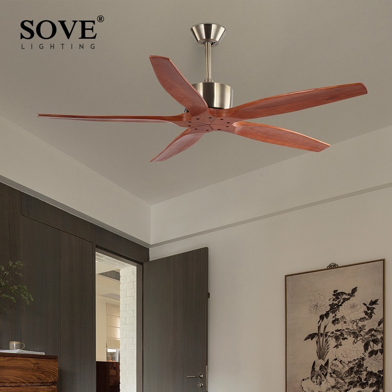 Sove Modern Wooden Ceiling Fan Wood With Remote Control Attic Without Light Dining Room Decorative Home Fan Ventilador De Teto цена