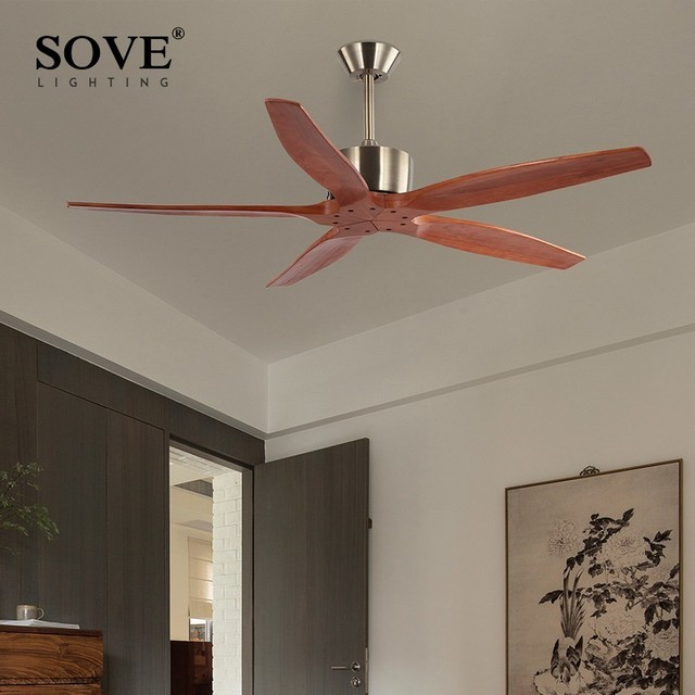 Sove Modern Wooden Ceiling Fan Wood With Remote Control Attic Without Light Dining Room Decorative Home