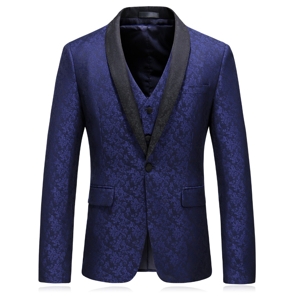 Navy Mariage Bal Marine Tuxedo 3 Châle Partie Pièces Style Homme Costumes Bouton Blue Un Bleu Revers British Floral Costume De Taille Suits Chef Jz Grande Imprimer 0wnPk8O