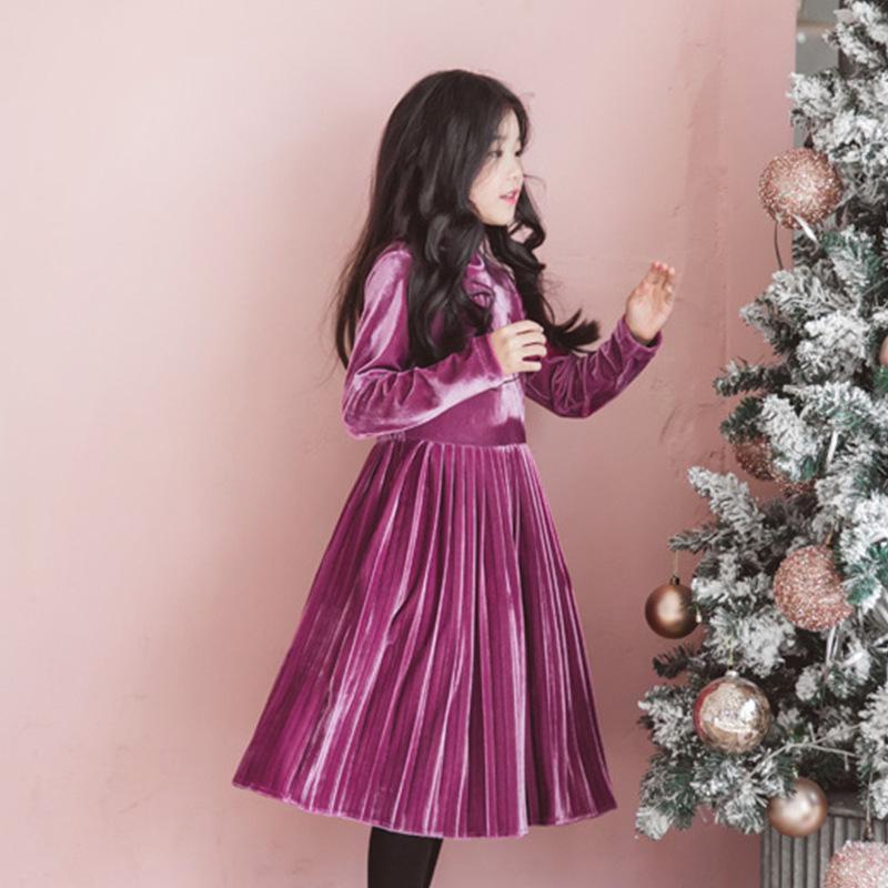 Back To School Clothing Autumn Winter Teen Kids Dresses For Girls High Neck Little Girl Dres Big 2019 Purple Children Clothing