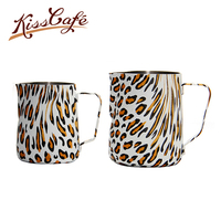 300/600cc Stainless Steel Frothing Pitcher Pull Flower Cup Leopard Print Cappuccino Pitcher Jug Milk Frothers Mug Coffee Tools