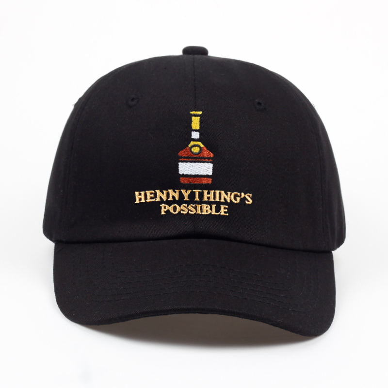 2018 new Henny Wine bottle embroidery Dad Hat men women   Baseball     Cap   adjustable Hip-hop snapback   cap   hats