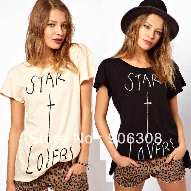 Free Shipping!2013 New star lovers pattern american style denim print bell-bottom sweep womens cotton female t-shirt shirt