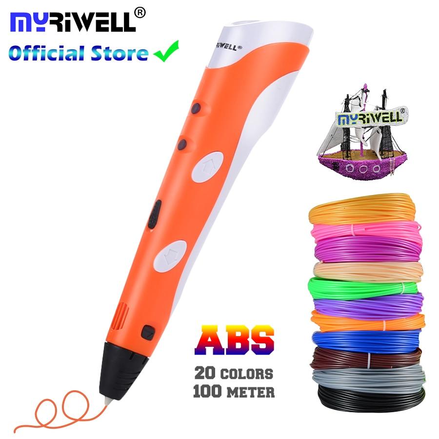 3D Pen Model 3 D Printer Drawing Magic Printing Pens With 100M Plastic ABS Filament School Supplies
