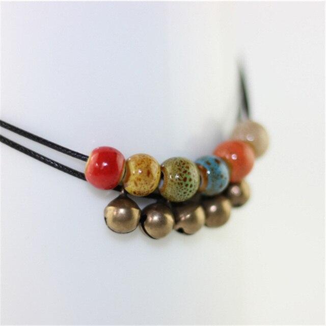 Double-Armure-Corde-Cloches-Charme-Cheville-Ceramique-Perle-Pendentif-Sandales-J