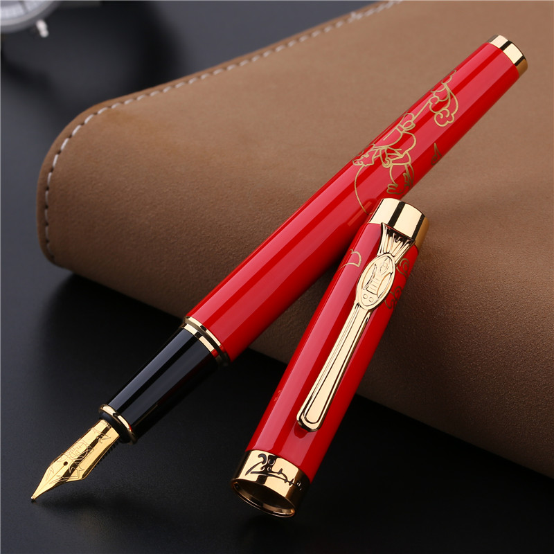 Luxury Golden Clip Fountain Pen Gold Black Red Pimio 933 Metal Iraurita Nib 0.5mm Ink Pens Business Gift Stationery with a Box black golden clip full metal fountain pen wingsung 572 hooded nib luxury student writing business gift pens with box stationery