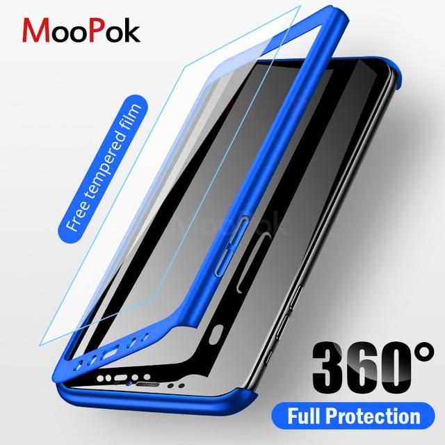 MooPok 360 מלא כיסוי טלפון מקרה לסמסונג גלקסי A8 A6 בתוספת A7 2018 מגן כיסוי לגלקסי J4 J6 j8 2018 A7 A5 A3 מקרה