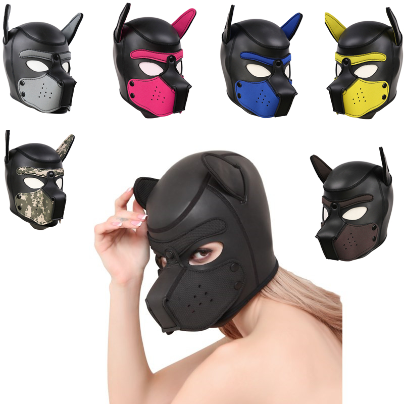 New-Sexy-Women-Girls-Cosplay-Props-Dog-Mask-Role-Playing-Rubber-Full-Face-Helmet-Soft-Latex_
