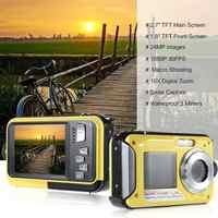 BEESCLOVER Impermeabile Fotocamera Digitale Full HD Macchina Fotografica Subacquea 24 MP Video Recorder Selfie Doppio Schermo DV della Macchina Fotografica di Registrazione r29