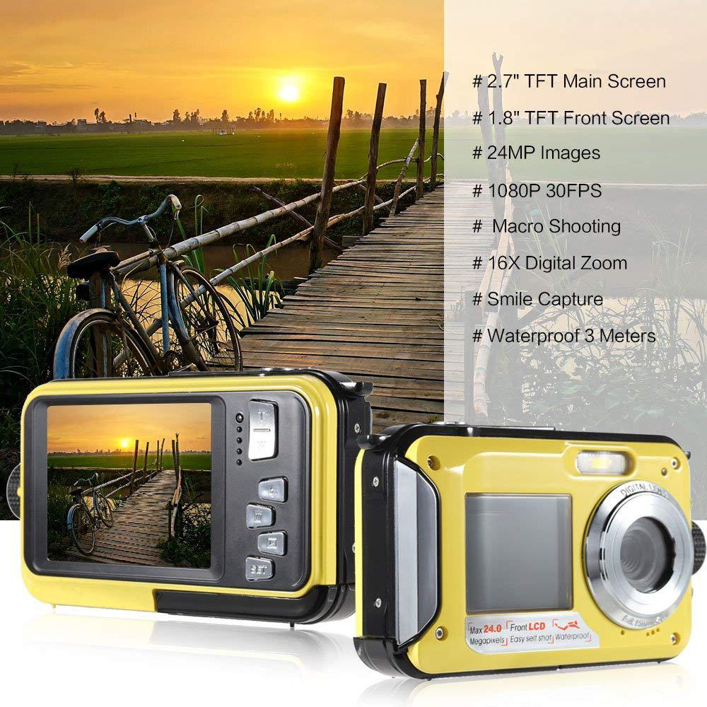 BEESCLOVER Waterproof Digital Camera Full HD Underwater Camera 24 MP Video Recorder Selfie Dual Screen DV Recording Camera r29