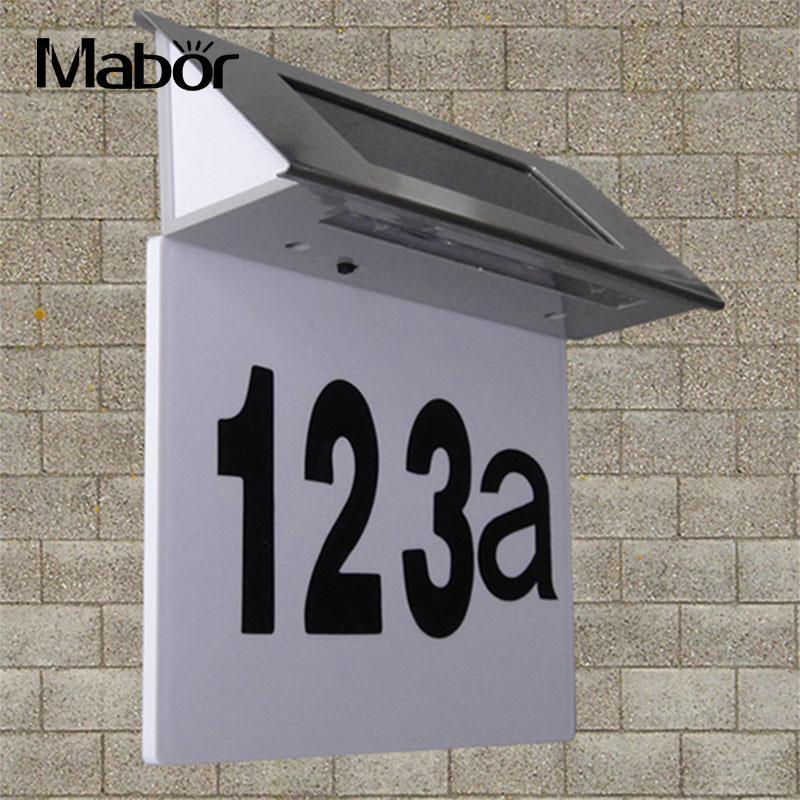 цена на Solar LEDs House Number Light Metal Luminous Doorplate Door Plate Wall Lamp