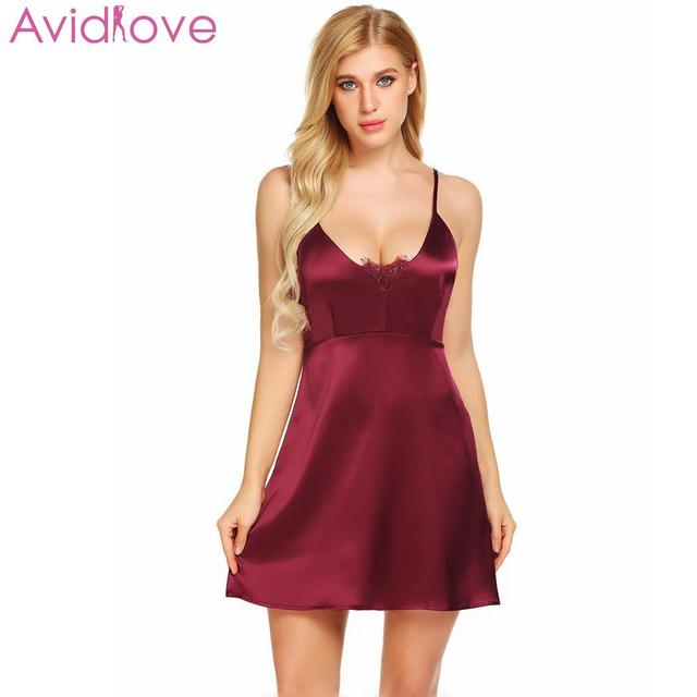 ef013bb051 Avidlove Women s Night Dress Nighty Nightwear Nightgown Backless Sexy  Lingerie Lace Satin Babydoll Chemise Sleepwear