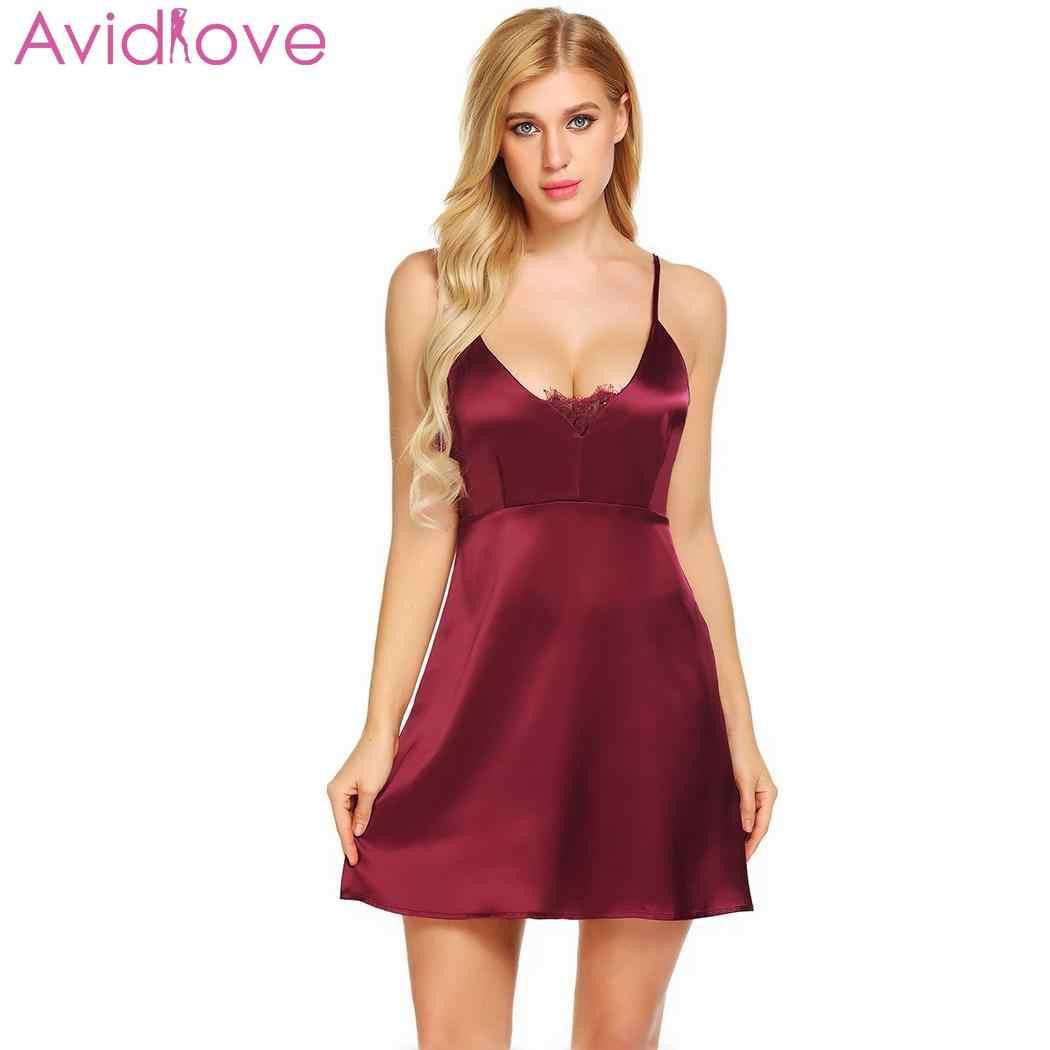 cdeaee2b5d Avidlove Women s Night Dress Nighty Nightwear Nightgown Backless Sexy  Lingerie Lace Satin Babydoll Chemise Sleepwear