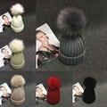 Pompón de piel de Las Señoras de Punto de Lana de Invierno de Las Mujeres Sombrero de la Gorrita Tejida Del Capo de Punto Harajuku Gorro de Invierno Femenina Sombreros Para Mujeres Gorros Skullies